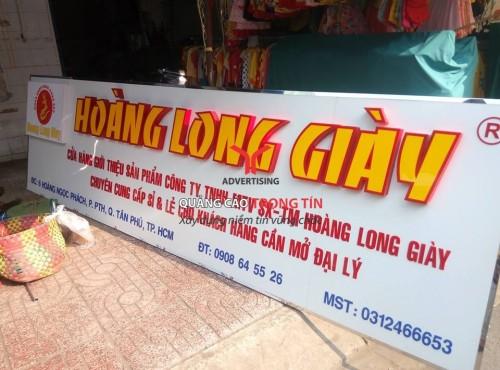 bảng hiệu Alu chữ nổi Mica cho shop giày Hoàng Long